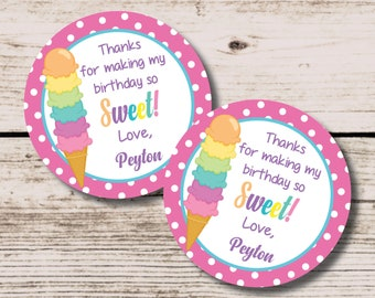 Ice Cream Favor Tag, Ice Cream Cone Label, Thank You Tag, DIY Printable Decorations, Ice Cream Cone Birthday, First Birthday, Summer Party