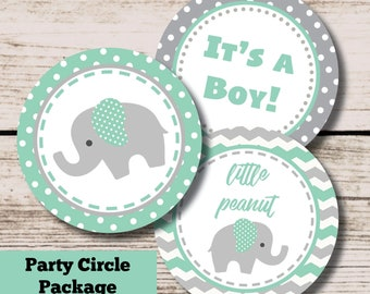 Elephant Baby Shower Decorations, Mint and Gray Elephant Printable Centerpieces Cupcake Toppers, INSTANT DOWNLOAD File, Boy Baby Shower