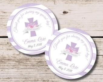 First Communion Tag, Lavender Cross Communion Favor PRINTABLE DIY File, Purple Cross Tag, Holy Communion Thank You Tag, Girl First Communion