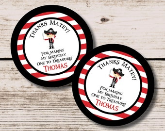 Pirate Thank YouTag, Pirate Favor Tags, Personalized Tags, Printable Party Decorations, Printable Party Favor, Pirate Birthday Favor