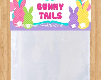 Bunny Tails Treat Bag Header, Easter Decoration, School Treat Bag INSTANT DOWNLOAD Printable File, Bunny School Treats, Easter Egg Hunt