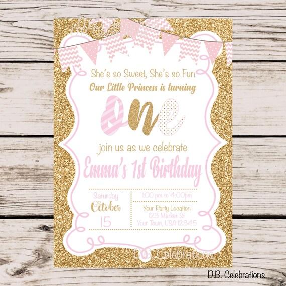 pink gold birthday party invitation girls first birthday etsy