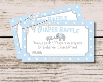 Elephant Diaper Raffle Ticket, Baby Shower Game, ISTANT DOWNLOAD Printable Baby Shower, Blue Gray Elephant Boy Baby Shower Game, Shower Game