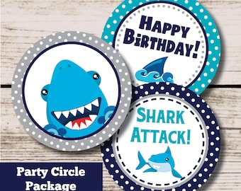 Shark Birthday Decorations, Beach Shark Party Printable Centerpieces Cupcake Toppers, INSTANT DOWNLOAD File, Boy Pool Party Package Decor