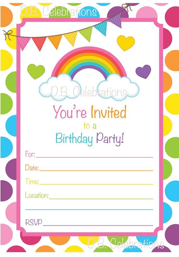 Rainbow Birthday Party Invitation Fill In The Blank Etsy