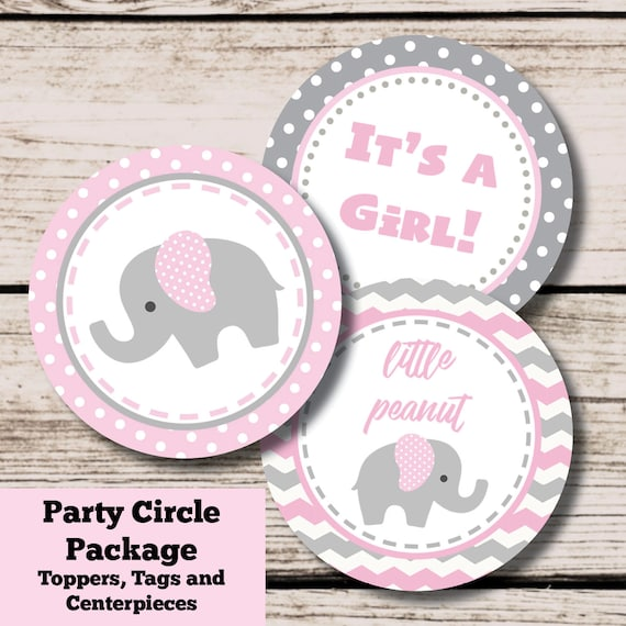 Elephant Baby Shower Decorations Pink And Gray Elephant Printable Centerpieces Cupcake Toppers Instant Download File Girl Baby Shower