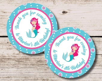 Mermaid Favor Tag, Under the Sea Party, Mermaid Thank You label, DIY Printable Party Decoration, Mermaid Birthday Party Tag, Mermaid Favor