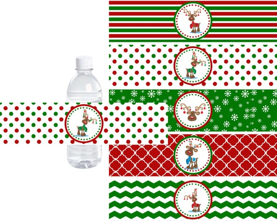 Christmas Reindeer Water Bottle Labels Christmas Water Bottle Etsy