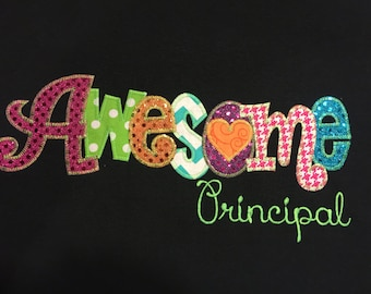 Awesome Principal  Applique Blingy T-Shirt