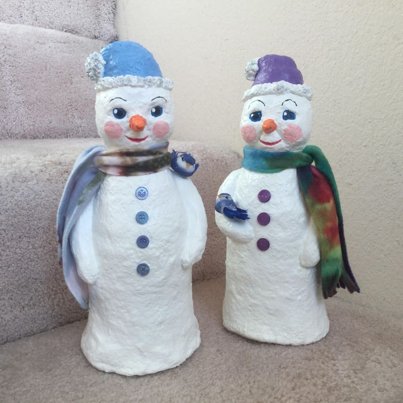 individually handcrafted one of a kind design Perfect to brighten your Christmas. Sweet snowmen Original Paper Mache Snowmen