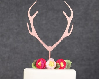 Baby Shower Cake Toppers-Rose Gold Antlers Cake Toppers-Gender Neutral Toppers-Engagement Party Cake Topper-Gender Reveal Cake Topper
