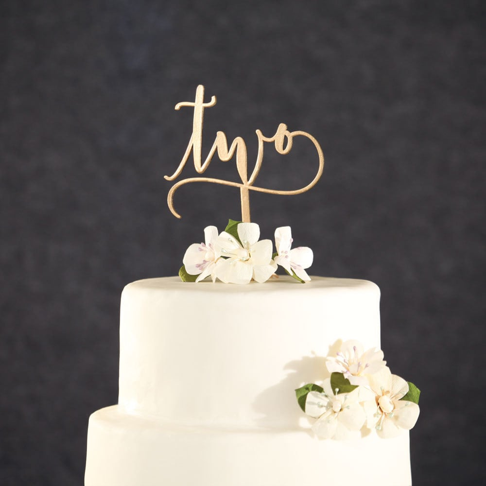 Birthday Cake Topper-Gold Two Birthday Cake Topper-Second