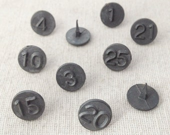 Vintage Thumb Tacks - Full Set of 25 Pins - Antique Acro Window Tacks - Rustic Metal Number Office Supplies - Bulletin Board Push Pin