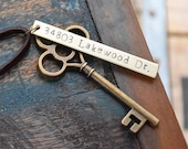 First Home Ornament - Custom Stamped New House Address Skeleton Key - Personalized Housewarming Gift Wedding Tag - Rustic Vintage BRASS OG