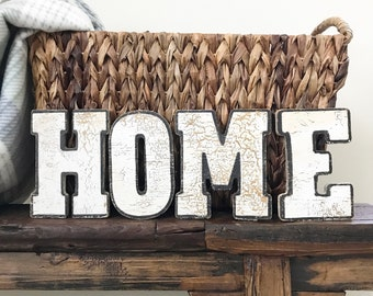 Vintage HOME Sign - ANTIQUE wood Letters - Hand Painted Chippy Paint -  Salvaged Authentic Rustic Home Decor - Old Shabby Chic - Farmhouse 20459894ada