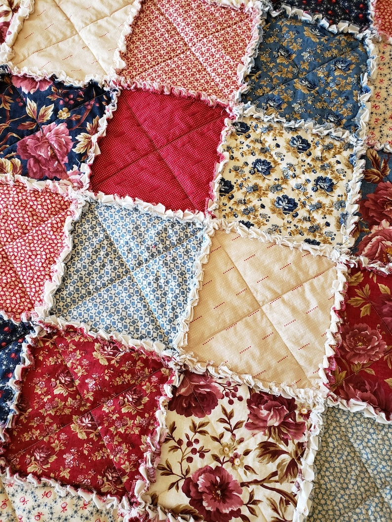 Rustic Reds Heritage Home Large Rag Quilt Throw and Neutral Tones Antique Blues