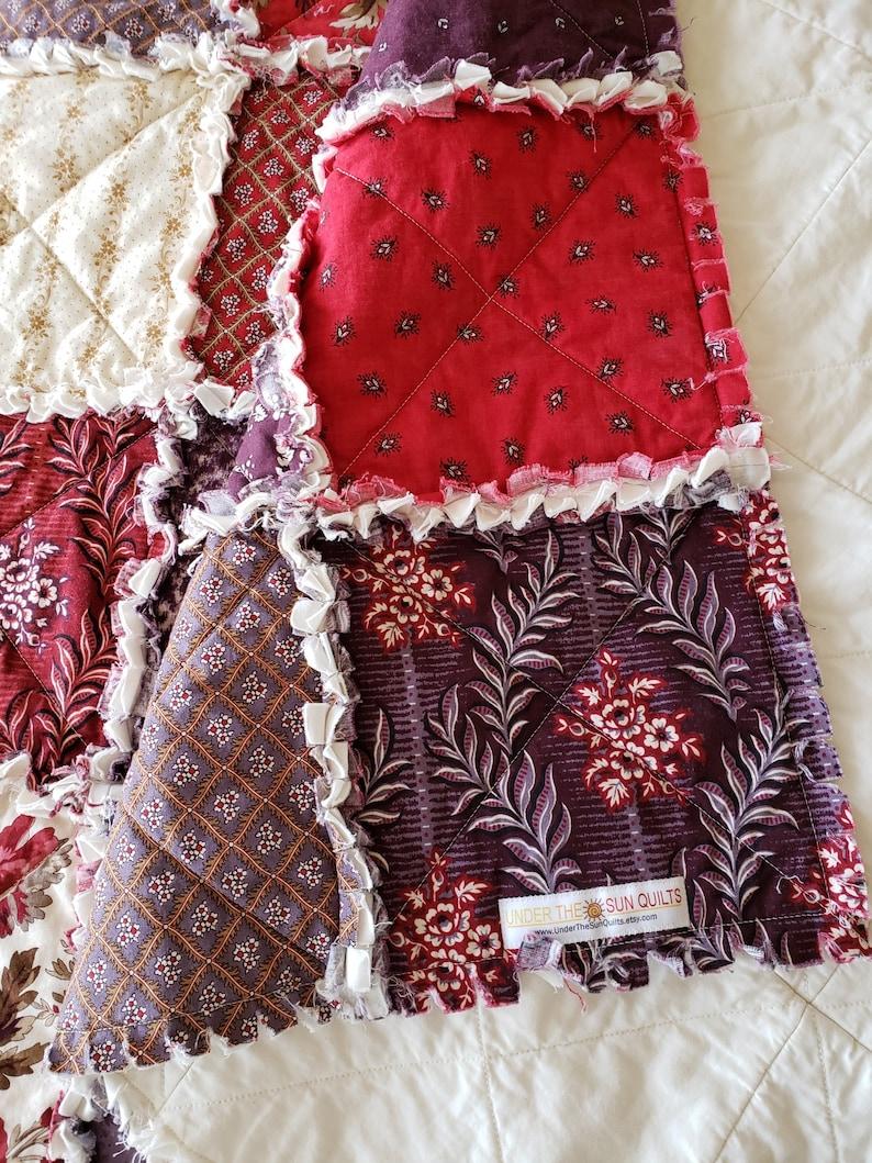 Burgundy Taupe Jardin Rustique Large Rag Quilt Throw Red Brown Purple Cream