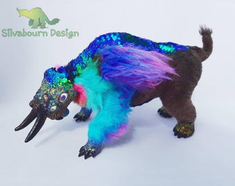 Silvabeast - Prismatic Titanothere - Art Doll Ooak