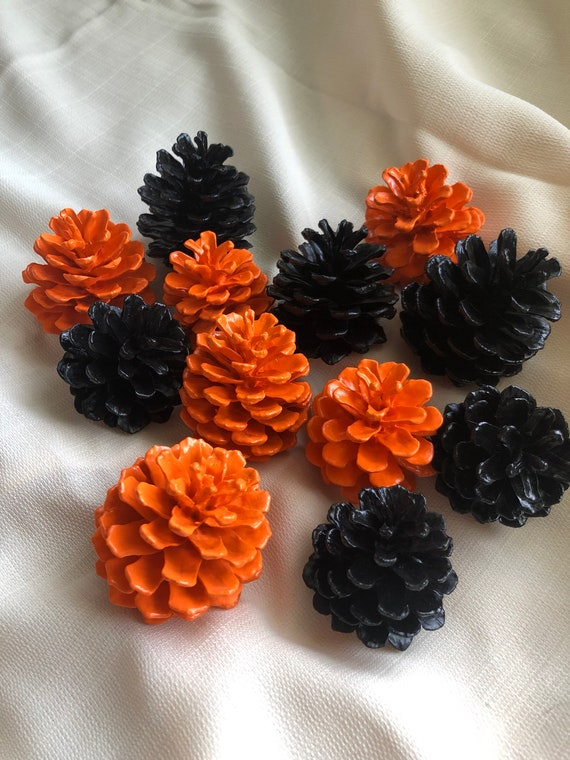 Orange And Black Halloween Pinecones Pinecone Decor Painted Pinecones Halloween Decorations