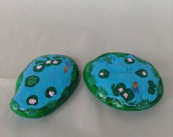 Hand painted fairy garden ponds. Gnome garden ponds. Rock art. Frog pond. Turtle pond.