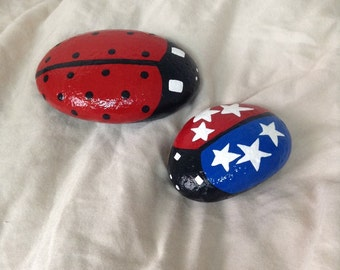 Hand Painted Ladybug Garden Rocks With Special Edition LadyUSABug. Ladybug  Decor. Patriotic Decor.