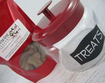 Dog Treat Jar With or Without Treats with Red Lid ~ Dog Treat Canister ~ Dog Treat Container ~ Homemade Dog Biscuits ~ Dog Snacks Storage