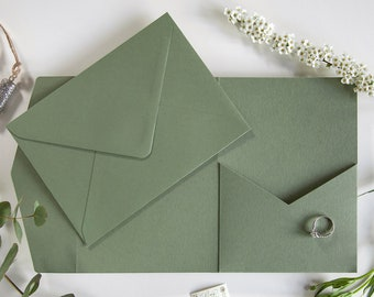 """DIY Pocketfold Envelopes, Sage Green 300gsm 5x7"""" Portrait, with Pocket & fold-over Flap - Matching Envelopes and/or Twine - from 1.25 each"""