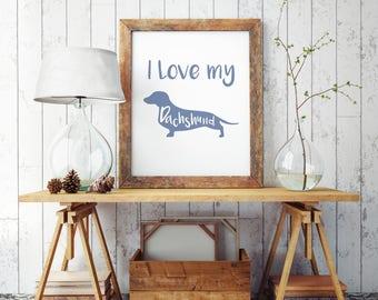 Super Cute Dachshund Sausage Dog Print Art Poster