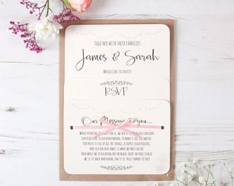 Pink Heart Bunting Wedding Invitations (Any Colour Available) Shabby Chic