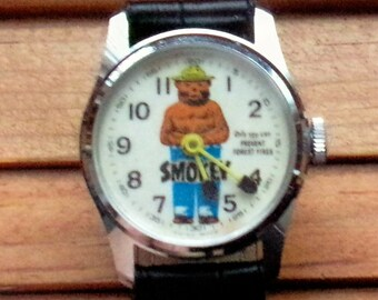Vintage Smokey The Bear Wind Up Watch! Works Perfect! Keeps Perfect Time!  Original! From 1960s! Great Condition! 147ea40fef4a