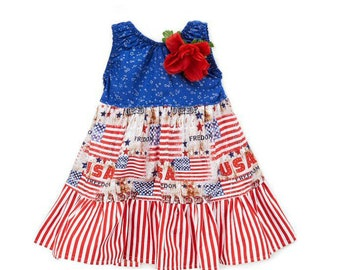 July 4th Girls USA BOUTIQUE Dress with FREE Hair Bow - infant - toddler - girl - wholesale
