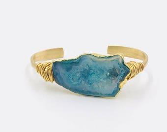 Druzy Cuff Bracelet, green solar quartz cuff, adjustable gold cuff, brass cuff bangle, christmas gift  FREE SHIPPING
