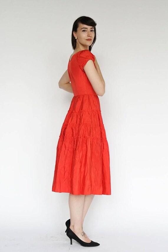 Vintage 1950's Dress Party Formal Cocktail Red Ru… - image 3