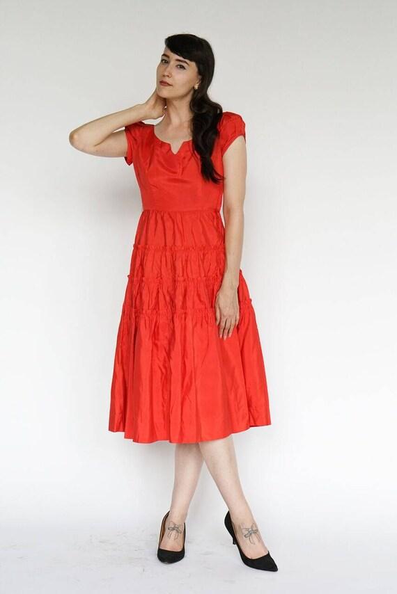 Vintage 1950's Dress Party Formal Cocktail Red Ru… - image 6