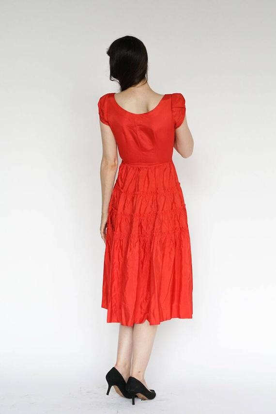 Vintage 1950's Dress Party Formal Cocktail Red Ru… - image 4