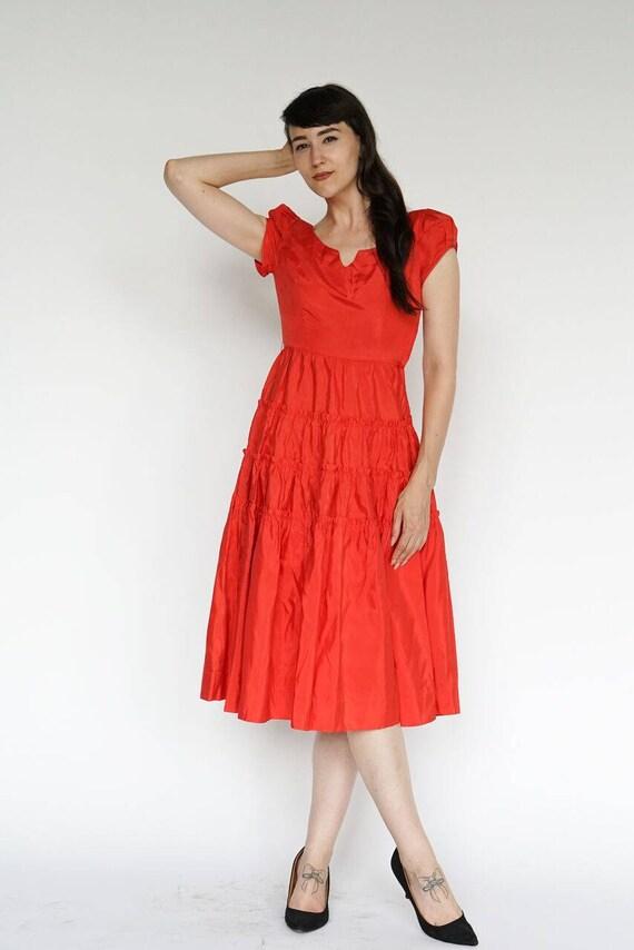 Vintage 1950's Dress Party Formal Cocktail Red Ru… - image 5
