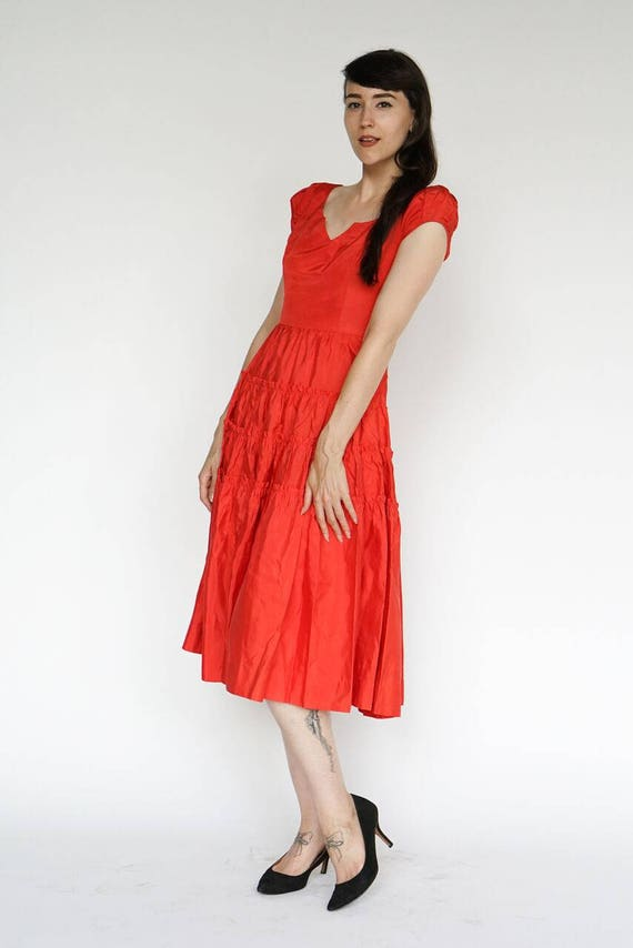Vintage 1950's Dress Party Formal Cocktail Red Ruf