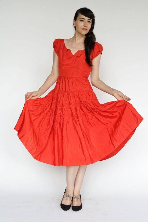 Vintage 1950's Dress Party Formal Cocktail Red Ru… - image 2