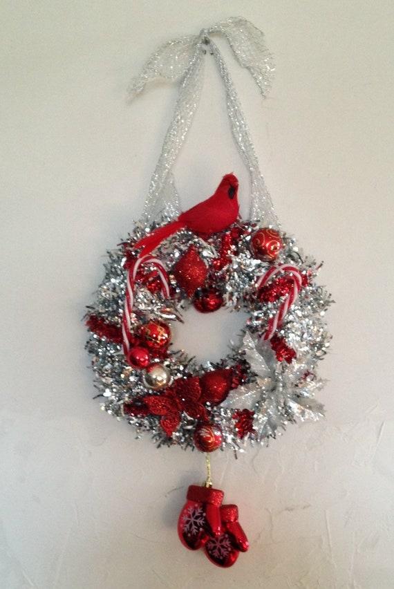 Corona De Navidad De Plata Corona De Navidad Hecha A Mano Etsy