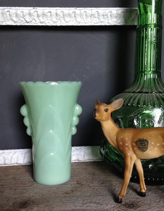Vintage Jadite Vase Art Deco Jadeite Flower Vase Jadeite Etsy