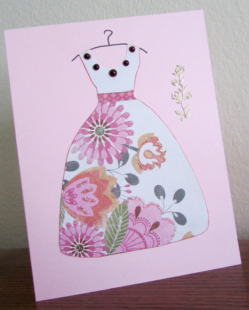 Wedding Shower Quinceanera Feminine Handmade Birthday or Special Occasion Card featuring custom dyed faux pearls /& gold rose embellishment