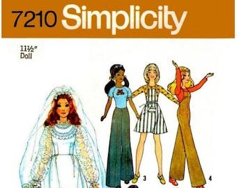 "E759 PDF Copy of My Vintage Simplicity Pattern #7210 for 11-1/2"" Fashion Dolls"