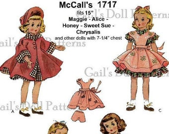 """E687 A Vintage Copy of 1950's McCall's Pattern for 15"""" Doll Wardrobe"""
