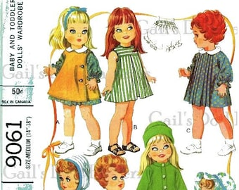 """E690 PDF Copy of Vintage McCall's 9061 Doll Clothes Pattern to Fit Medium Dolls 14"""" to 18""""."""