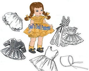 """E579 Clothes Pattern for  7-1/2"""" to 8"""" Dolls such as Ginny, Muffy, Alexanderkins"""