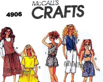 """E712 Copy of vintage McCalls #4906 Doll Clothes Pattern for 11 1/2"""" Barbie"""