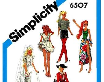 E799 PDF Instant Download Copy of Vintage Simplicity 6507 Barbie Pattern.