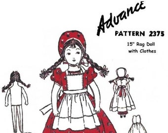 """E801 PDF Instant Download Copy of Vintage 1940's Advance Pattern 2375 15"""" Cloth Doll with Clothes"""