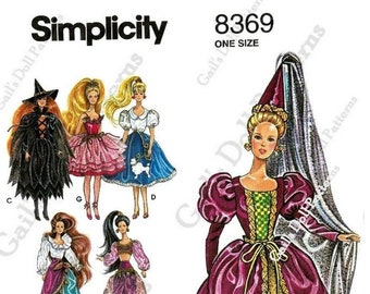 """E813 PDF copy of Simplicity 8369 Doll Clothes Pattern for 11-1/2"""" Fashion Dolls such as Barbie"""