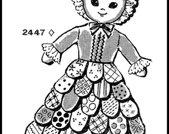 mail order doll etsy Baby Drowsy Doll 1970 copy of vintage mail order pattern 2447 petal skirt pillow doll